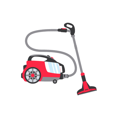 vector flat modern electronic vacuum cleaner bright red colored icon. Consumer electronics and home appliance element for your design. Isolated illustration on a white background. 일러스트