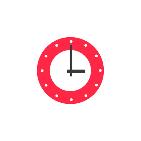vector flat wall mounted analog clock watches. Modern design red home appliance icon. Isolated illustration on a white background