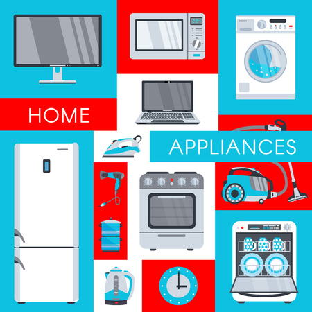 vector home appliance advertising poster banner design. Gas stove, dishwasher, washing machine, electric kettle or teapot, hair dryer, iron, vacuum cleaner, laptop, monitor clock, fridge icon set.