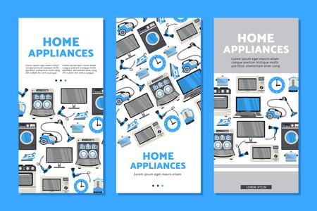 벡터 홈 기기 판매 포스터, 배너 세트 tv 플라즈마 패널 노트북, 전자 레인지, 식기 세척기, 가스 렌지, 다리미, 전기 주전자 및 진공 청소기, 세탁기 및