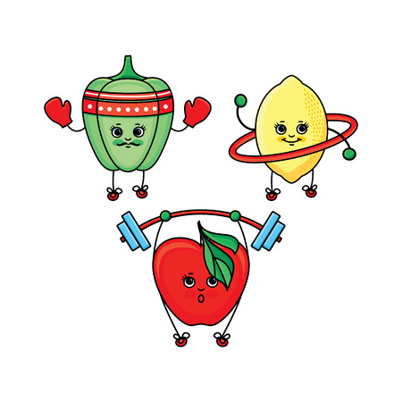 Set of bell pepper, lemon and apple characters doing sport exercises, flat cartoon vector illustration isolated on white background. Funny bell pepper, lemon and apple characters doing sport, training Illustration