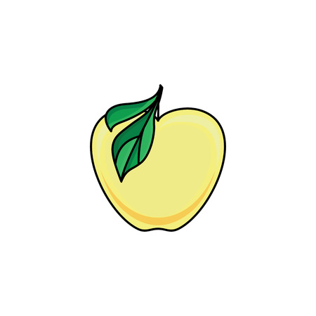 vector flat sketch style yellow fresh ripe apple. Isolated illustration on a white background. Healthy vegetarian eating, dieting and lifestyle design object.