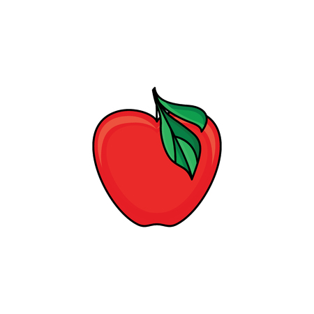 vector flat sketch style red fresh ripe apple. Isolated illustration on a white background. Healthy vegetarian eating, dieting and lifestyle design object. Illustration
