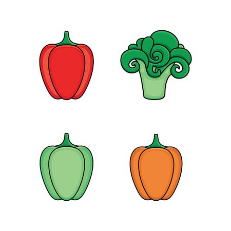 Set of green, red and orange bell pepper and broccoli vegetable icons, flat vector illustration isolated on white background. Stylized bell pepper and broccoli flat style icon set