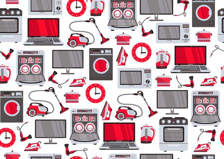 Vektor Haushaltsgerät nahtlose Muster. Gasherd, Spülmaschine, Waschmaschine, Wasserkocherteekanne, Haartrockner, Eisen, Staubsauger, Laptop, Monitoruhr, Kühlschrank auf weißer Hintergrundillustration Standard-Bild - 92125332