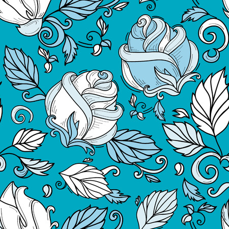 vector hand drawn sketch style elegant vintage rose blue shade wild flower with stem, leaves and blooming blossom seamless pattern. illustration on a blue green background.