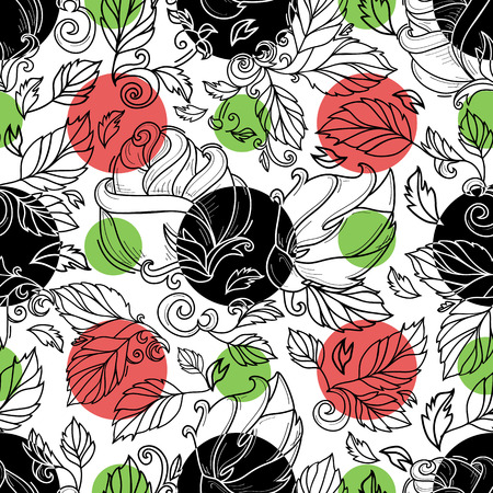 vector hand drawn sketch elegant vintage rose flower with stem, leaves and blooming blossom black and white seamless pattern with black, green red circles. Isolated illustration on white background.