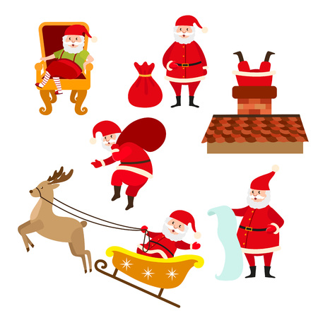 Santa doing various Christmas activities, cartoon vector illustration isolated on white background. Funny Santa holding present bag, riding reindeer sleigh, reading gift list, diving into chimney