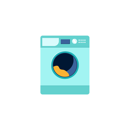 Front view picture of automatic household washer, washing machine, flat style vector illustration isolated on white background. Front view flat style washing machine, washer, household appliance Vettoriali