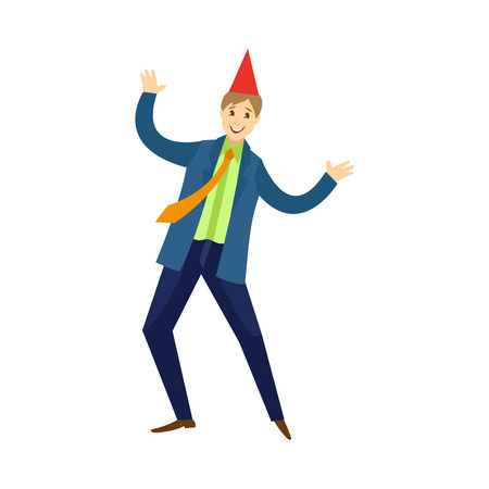 vector flat cartoon office worker man in formal corporate clothing with orange necktie and party hat, male character dancing having fun at corporate party. Isolated illustration on a white background. Illustration