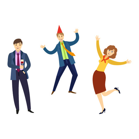 vector flat office workers men and girl in formal corporate clothing with necktie, party hat, male, female characters dancing having fun at corporate party. Isolated illustration white background. Illustration