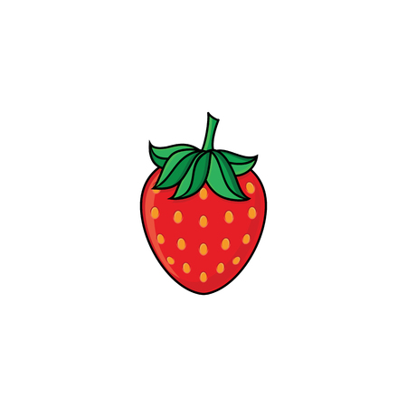 vector flat sketch style red fresh ripe strawberry. Isolated illustration on a white background. Healthy vegetarian eating, dieting and lifestyle design object. Illustration