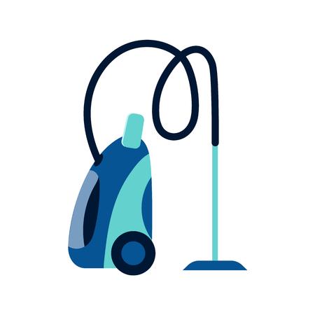 Zijaanzicht foto van elektrische stofzuiger, stofzuiger, huistoestel, vlakke stijl vector illustratie geïsoleerd op een witte achtergrond. Vlakke stijlicoon, concept zijaanzicht stofzuiger