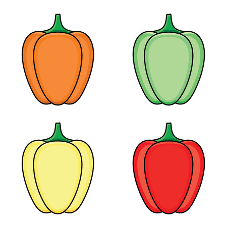 vector flat sketch style green, orange yellow and red fresh ripe bellpepper set. Isolated illustration on a white background. Healthy vegetarian eating, dieting and lifestyle design object. Illustration