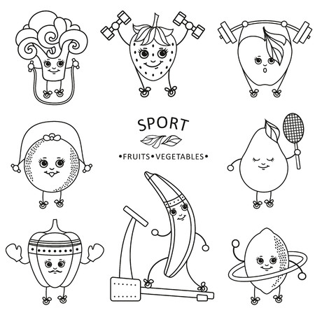 vectorsketch characters doing sport set. Apple, strawberry, pepper, lemon, pear, broccoli banana, orange working out with dumbbell, hoola hoop, skipping rope, treadmill barbell monochrome illustration