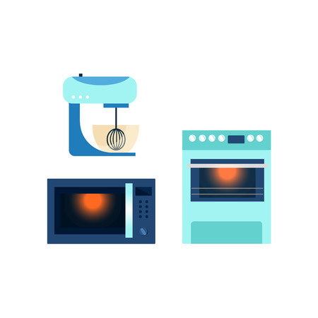 vector flat cartoon modern consumer electronics icon set. Highly detailed microwave oven, sewing machine and kitchen gas stove. Isolated illustration on a white background. Ilustrace