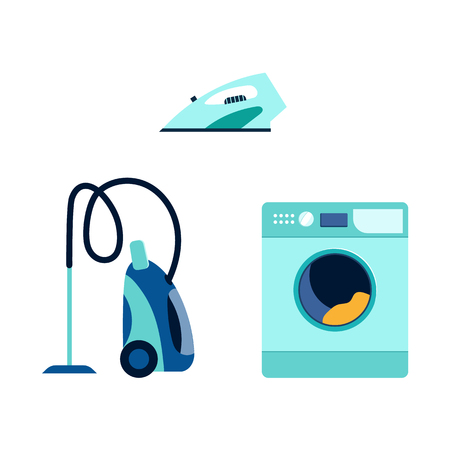 vector flat cartoon modern consumer electronics icon set. Highly detailed washing machine, washer vacuum cleaner and electric iron. Isolated illustration on a white background. Vectores