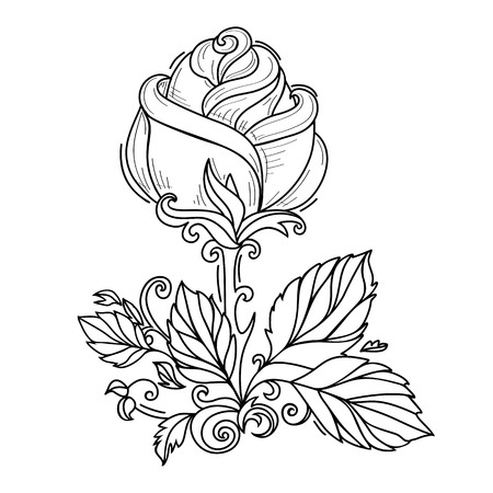 vector hand drawn sketch style elegant vintage rose wild flower with stem, leaves and blooming blossom black and white silhouette monochrome. Isolated illustration on a white background. Vettoriali