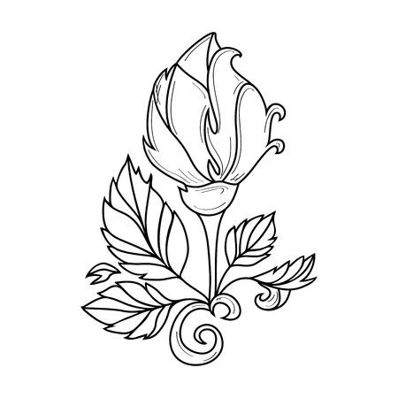 vector hand drawn sketch style elegant vintage rose wild flower with stem, leaves and blooming blossom black and white silhouette monochrome. Isolated illustration on a white background. Çizim