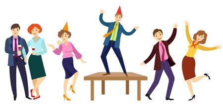 Trabalhadores de escritório plana vector no conjunto de festa corporativa. Homens e meninas na roupa formal com gravata, chapéu do partido que tem o divertimento dançar no assoalho, na tabela que assobia, bebendo o vinho. Ilustração isolada Foto de archivo - 92125614