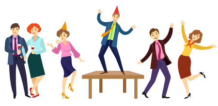 vector flat office workers at corporate party set. Men and girls in formal clothing with necktie, party hat having fun dancing at floor, at table whistling, drinking wine. Isolated illustration Stock Vector - 92125614