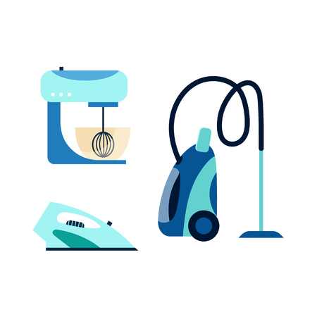 vector flat cartoon modern consumer electronics icon set. Highly detailed sewing machine, washer vacuum cleaner and electric iron. Isolated illustration on a white background.