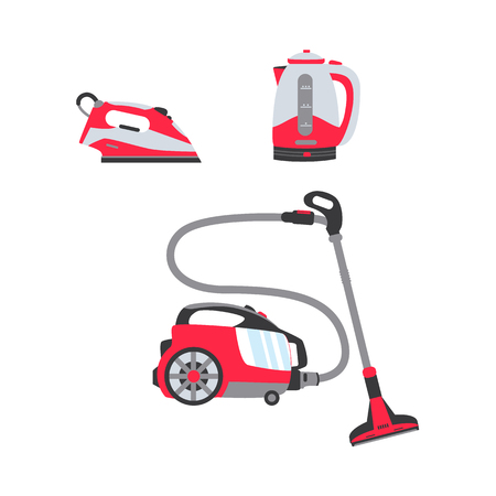vector flat modern consumer electronics, home appliance sale icon set. Vacuum cleaner, steam iron and electric kettle or teapot. Isolated illustration on white backgroud