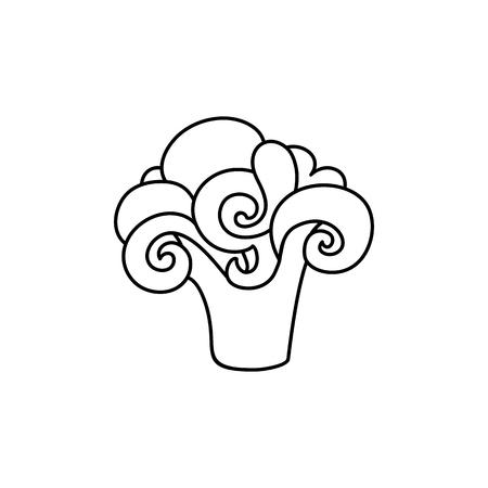 벡터 플랫 스케치 스타일 흑백 컨투어 잘 익은 브로콜리 brussels 새싹 양배추. 흰색 배경에 고립 된 그림입니다. 건강 한 채식 식사, 다이어트 및 라이프