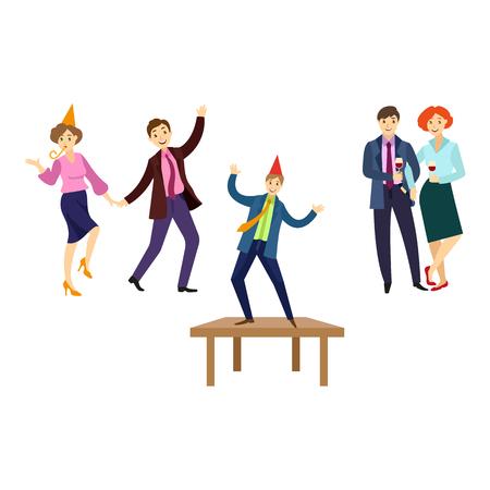 Vector platte kantoorpersoneel bij bedrijfsfeest set. Mannen en meisjes in formele kleding met stropdas, feestmuts met plezier dansen op de vloer, aan tafel fluiten, wijn drinken. Geïsoleerde illustratie