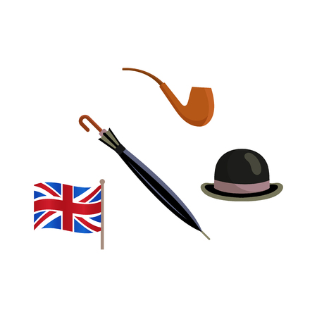 Vector flat british gentleman symbols icon set. English tea in ceramic teapot, hat and smoking pipe and union jack flag of united kingdom. Isolated illustration on a white background.