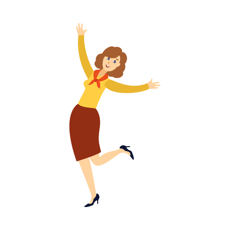vector flat beautiful girl office worker, business woman manager in corporate colored clothing in skirt, blouse and pioner red tie dancing at party . Isolated illustration on a white background.