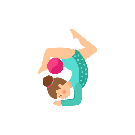 vector flat cartoon cute young teen girl making gymnastics stretching exercise with ball. Female woman athlete. Isolated illustration on a white background. Vettoriali