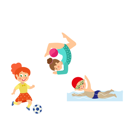 vector flat cartoon kids doing sports set. Girl playing football, another one doing stretching gymnastics exercise with ball, boy swimming in pool. Isolated illustration on a white background.
