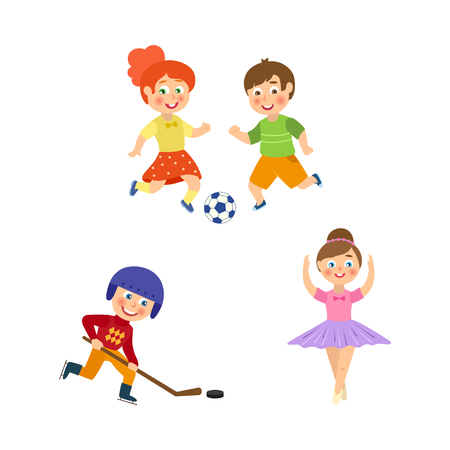 vector flat cartoon funny young teen kids doing sports set. Boy and girl playing football, girl ballet dancer, boy hockey player in uniform. Isolated illustration on a white background. Ilustracja