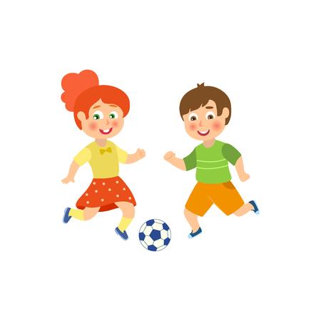 ベクトルフラット漫画面白い若い十代の少年とサッカーをしている女の子。スポーツ夏服姿の男性、女性アスリートが笑顔。白い背景に分離された