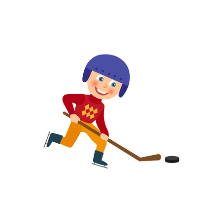 Happy little boy in helmet playing hockey with puck and pole, winter sport, flat cartoon vector illustration isolated on white background. Flat cartoon little boy playing hockey