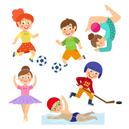 Vector flat cartoon funny young teen kids doing sports set. Boys and girls playing football, hockey. Swimming in pool, dancing ballet, making gymnastics. Isolated illustration on a white background. Çizim