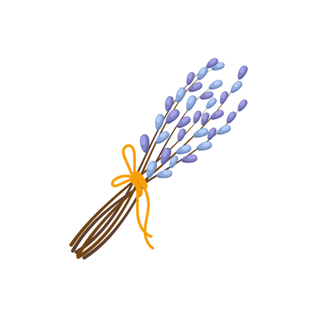 Bunch of flowering pussy willow branches tied with a yellow ribbon, Easter decoration element, cartoon vector illustration isolated on white background. Easter bouquet of pussy willow branches
