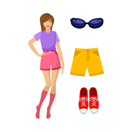 Vector flat cute young girl and summer outfit set. Summer yellow shorts, sunglasses and red sneakers. Fashionable trendy style female clothing. Isolated illustration on a white background. Standard-Bild - 92127774