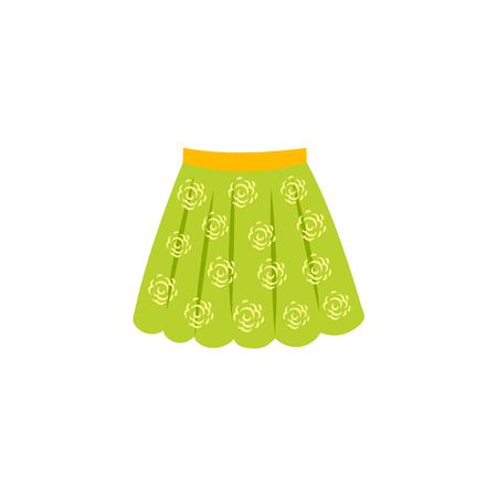 Vector plana verão feminino luz verde saia ícone com flores impressão abstrata. Verão na moda elegante do estilo, roupa ocasional fêmea. Ilustração isolada em um fundo branco. Foto de archivo - 92137028