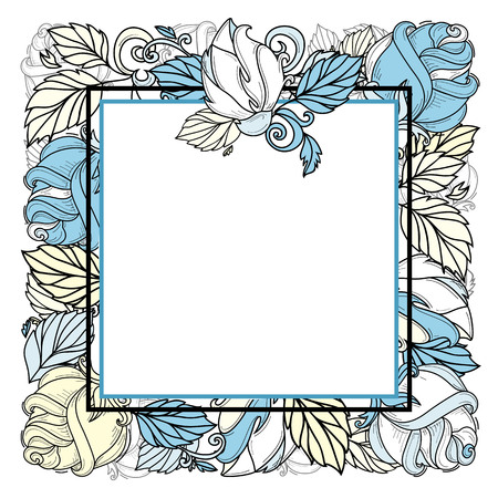 Vector hand drawn sketch style elegant vintage rose yellow blue shaded square frame template with free space, wild flower with stem, leaves and blooming blossom. Isolated illustration white background