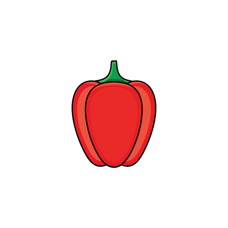 Flat sketch style red fresh ripe pepper. Banque d'images - 92172772