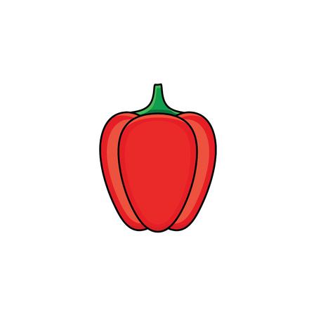 Flat sketch style red fresh ripe pepper.