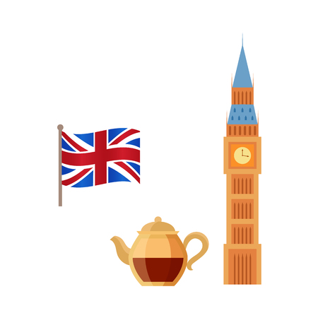 Vector flat United kingdom, great britain symbols set. British flag union jack, ceramic tea pot with elegant cup and Big Ban Tower of London icon. Isolated illustration on a white background  イラスト・ベクター素材