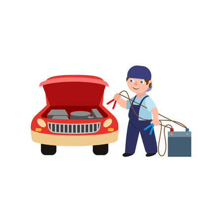 Flat adult man mechanic in blue uniform holding car battery charger jumper cable clamps going to repair car, Male full length portrait illustration.