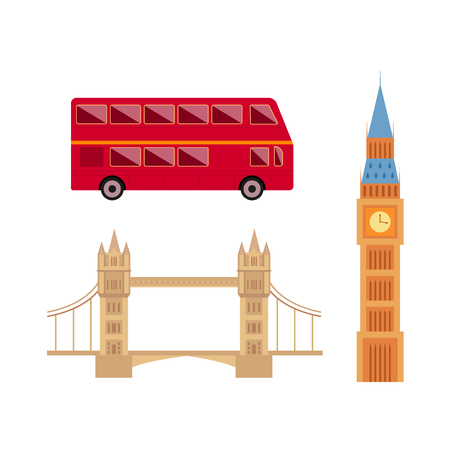 London, England set includes Big Ben, Tower Bridge and red double-decker bus in flat style illustration.