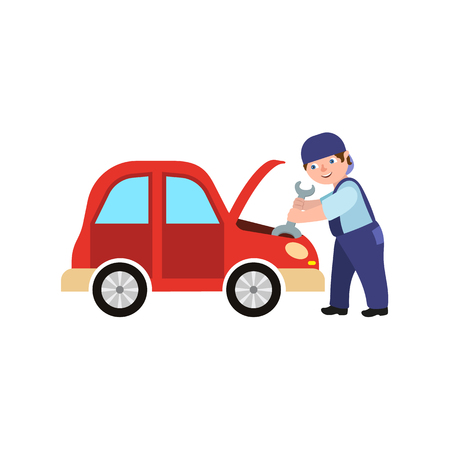 Vector flat adult man mechanic in blue uniform holding wrench repairing engine in open hood. Male full length portrait caucasian isolated, illustration on a white background