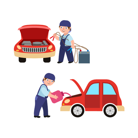 Adult man mechanic in blue uniform in car service set, One person holding car battery charger, another changing engine oil in flat style illustration. Illustration