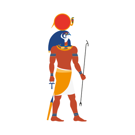 Ra, ancient Egyptian sun god with falcon, hawk head, flat side view full length portrait illustration.