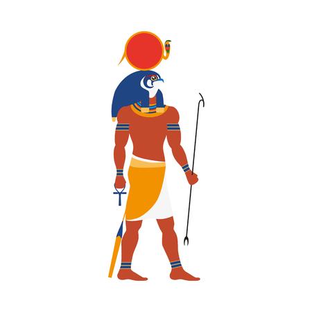 Ra, oude Egyptische zonnegod met valk, havik hoofd, vlakke het portretillustratie van de zijaanzicht volledige lengte. Stock Illustratie